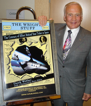 Buzz Aldrin with cover art for book