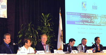 Spaceport Associates Founder Derek Webber chairs a space tourism panel in 2006.